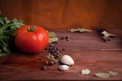 Röd våt tomat och kryddor på det wood skrivbordet Arkivfoton