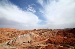 Röd Vagga-Zhangye Danxia landform Royaltyfri Fotografi