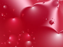 Röd valentinfractal med stora hjärtor i olika format och positioner Arkivfoto