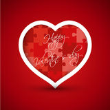 Röd valentinhjärta från pussel Royaltyfria Bilder