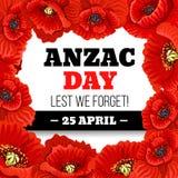 Röd vallmoblommaram för Anzac Day minnesmärkekort stock illustrationer