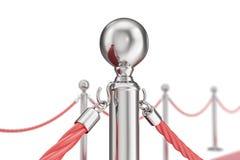 Röd valvetmatta som isoleras på vit bakgrund med silverstanchiond nad två, rope barriärer framförande 3d Arkivfoton
