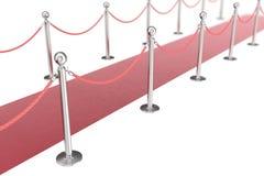 Röd valvetmatta som isoleras på vit bakgrund med silverstanchiond nad två, rope barriärer framförande 3d Arkivbild