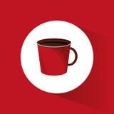 röd varm drink för kaffekopp Fotografering för Bildbyråer