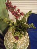 Röd vas av gröna och röda druvor på en vinranka som sitter på ett vävt mattt fotografering för bildbyråer