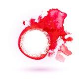 Röd vattenfärg- och blyertspennateckningsetikett Royaltyfri Foto