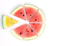 röd vattenmelon och gult som skivas på vit bakgrund Royaltyfria Foton