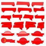 Röd vektor för bandbanersamling vektor illustrationer