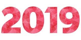 Röd vektor 2019 för lyckligt nytt år och isolerat rosa polygonal symbol Royaltyfri Foto