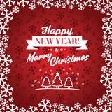 Röd vektorbakgrund för jul Kort eller inbjudan arkivfoto