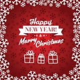 Röd vektorbakgrund för jul Kort eller inbjudan arkivbild
