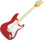 Röd vektorelectrogitarr. Musik i ditt liv. Royaltyfria Bilder