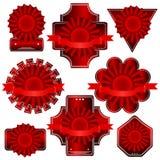 Röd vektoretikett Royaltyfri Bild