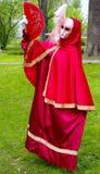 Röd Venetian maskering. Royaltyfri Fotografi