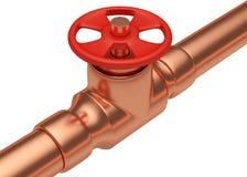 Röd ventil på diagonal sikt för kopparrör Arkivbilder