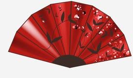 Röd ventilator med prydnaden stock illustrationer