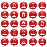 Röd vetor för uppsättning för Avataranvändaresymbol stock illustrationer