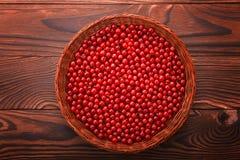 Röd vinbär för närbild på en träbakgrund Färgrika saftiga bär i en brun korg Mogen ny röd vinbär Royaltyfria Foton