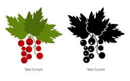 Röd vinbär för vektor på en vit bakgrund Arkivbilder