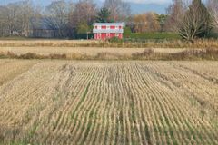 Röd vinterladugård och Hay Field Royaltyfri Bild