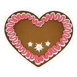 Röd vit för pepparkakahjärta med edelweissgarnering royaltyfri illustrationer