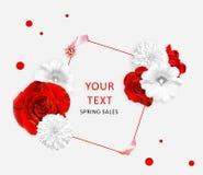 Röd vit malva för rosor och, rudbeckiablommor och fyrkant för text Blommabaner Fotografering för Bildbyråer