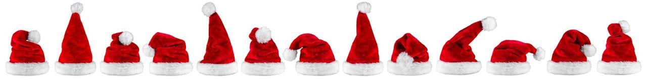 Röd vit Santa Claus hattpanorama Royaltyfri Fotografi