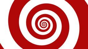 Röd & vit spiral för optisk illusion illustration för karneval, abstrakt bakgrund Arkivbilder
