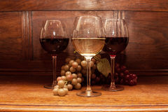 röd vit wine Royaltyfri Fotografi
