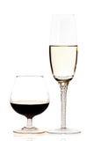 röd vit wine för exponeringsglas royaltyfri fotografi