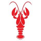 röd white för bakgrundscrawfish Vektorsymbol eller tecken Royaltyfria Foton