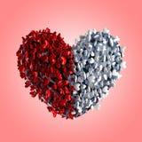 röd white för hjärtahjärtor stock illustrationer