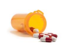 röd white för pills Arkivbild