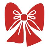 Röd xmas-pilbågesymbol, enkel stil royaltyfri illustrationer
