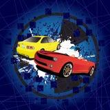 röd yellow för bil stock illustrationer