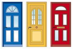 röd yellow för blåa dörrar Arkivbilder