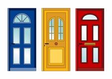 röd yellow för blåa dörrar Fotografering för Bildbyråer