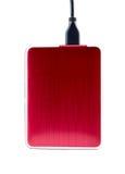 Röd yttre hårddisk med usb-kabel Fotografering för Bildbyråer