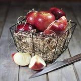 Röda äpplen i korg Arkivbild