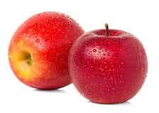Röda äpplen med vattendroppar Arkivfoto