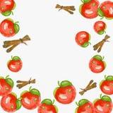 Röda äpplen och kanelpinnar royaltyfri illustrationer