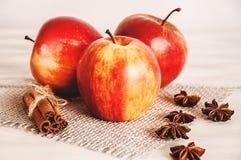 Röda äpplen på en säckväv på en vit träbakgrund Royaltyfria Bilder
