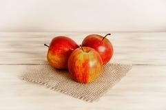 Röda äpplen på en säckväv på en vit träbakgrund Royaltyfria Foton