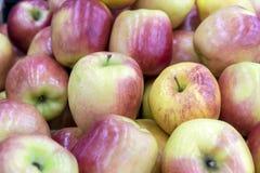 Röda äpplen på ställer ut av en lantlig marknad arkivfoton