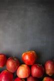 Röda äpplen på svart bräde Arkivbilder