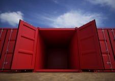 Röda öppna lastbehållare Arkivbild