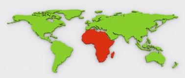 Röda Afrika i gräsplan 3D pressade ut världskartabakgrund Royaltyfri Illustrationer