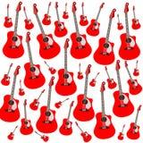 Röda akustiska gitarrer på vit bakgrund vektor illustrationer