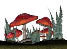 Röda amanitamuscariachampinjoner - 3D framför stock illustrationer