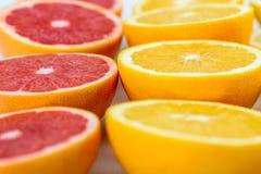 Röda apelsiner, apelsiner och grapefruktcitrusfrukter Arkivfoto